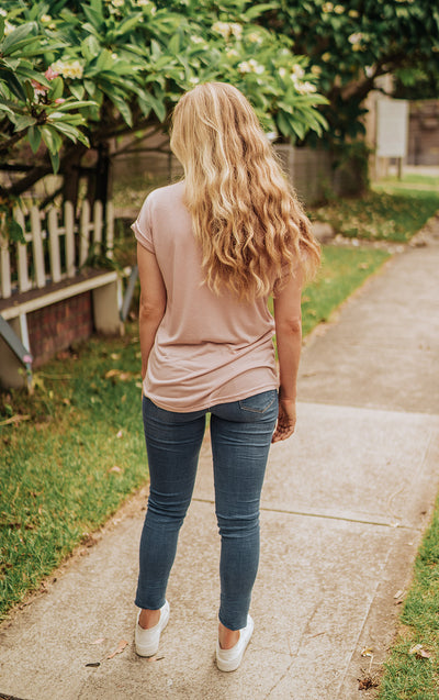 Roll Sleeve Blush Tee
