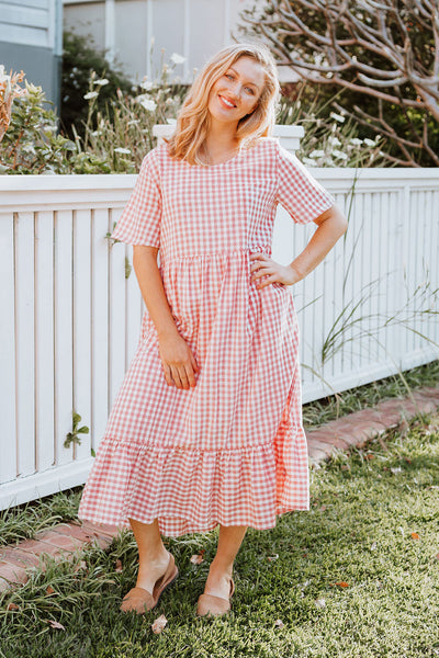 Roshane Dress - Blush Gingham