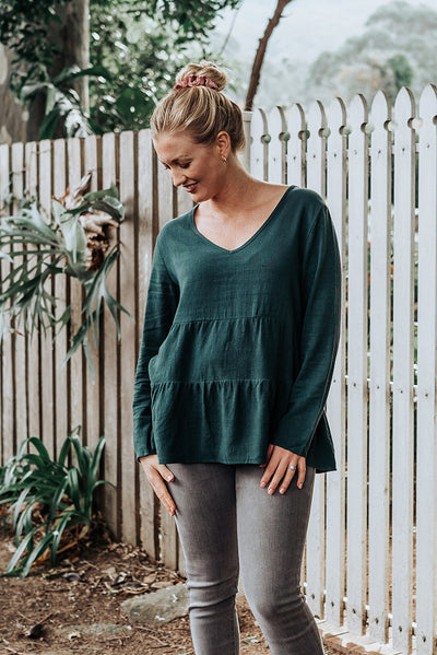 Ruffle Green Top