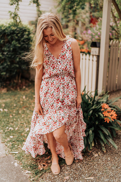Sleeveless Floral Red Dress