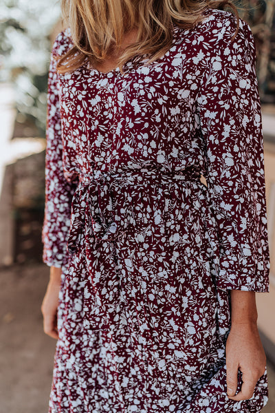 Sophia Dress - Wine Floral