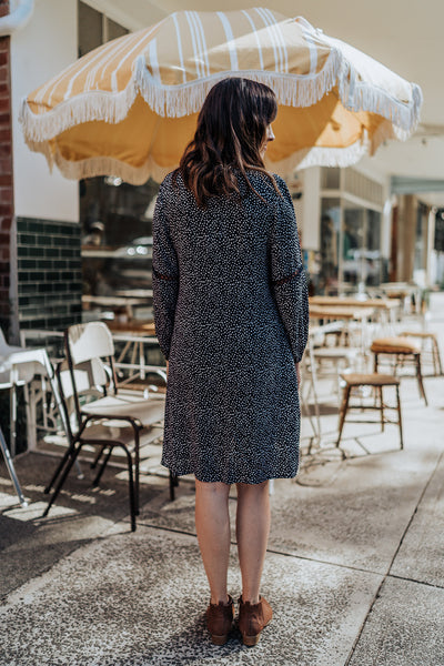 Spotted Navy Dress