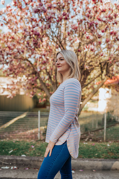 Stripe Hi-Lo Top - Blush/Blue