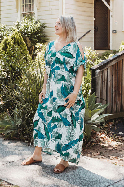 Tropical Print Long Kaftan