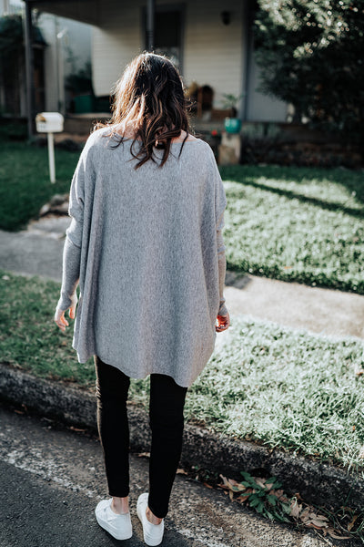 V Neck Grey Knit