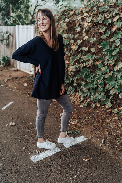 V Neck Navy Knit
