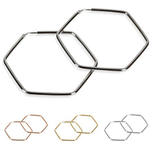 Lade das Bild in den Galerie-Viewer, 1-modabile-hexagon-creole-ohrring-925-sterling-schwarz