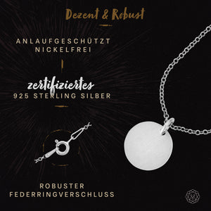 Halskette FROSTED CIRCLE Rhodiniert Ø 1,2mm aus 925 Sterling Silber
