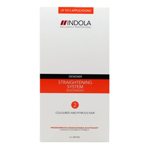 Indola Silkstraight Straightening System 2 Colour and Porous Hair 2 x 200ml