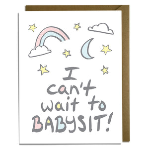 Can't Wait to Babysit - Baby Card Wholesale