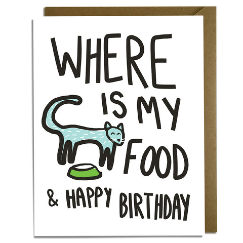 Cat Food Birthday Card