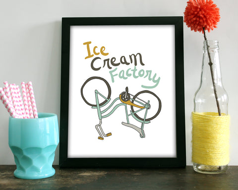 Ice Cream Factory Bike - Art Print