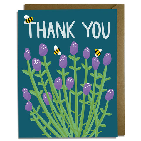 Lavender Bees - Thank You Card