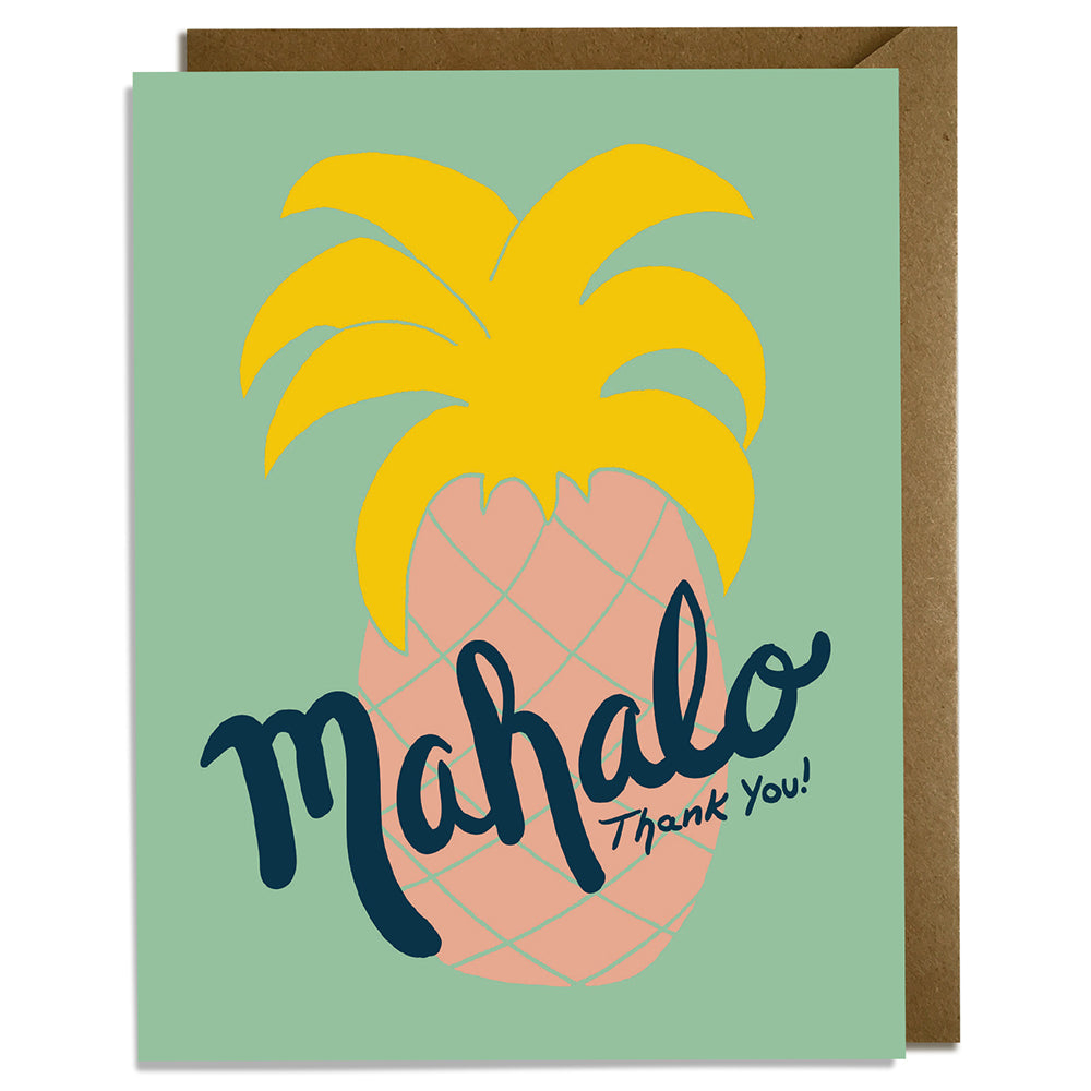 Mahalo Pineapple Green - Thank You Card