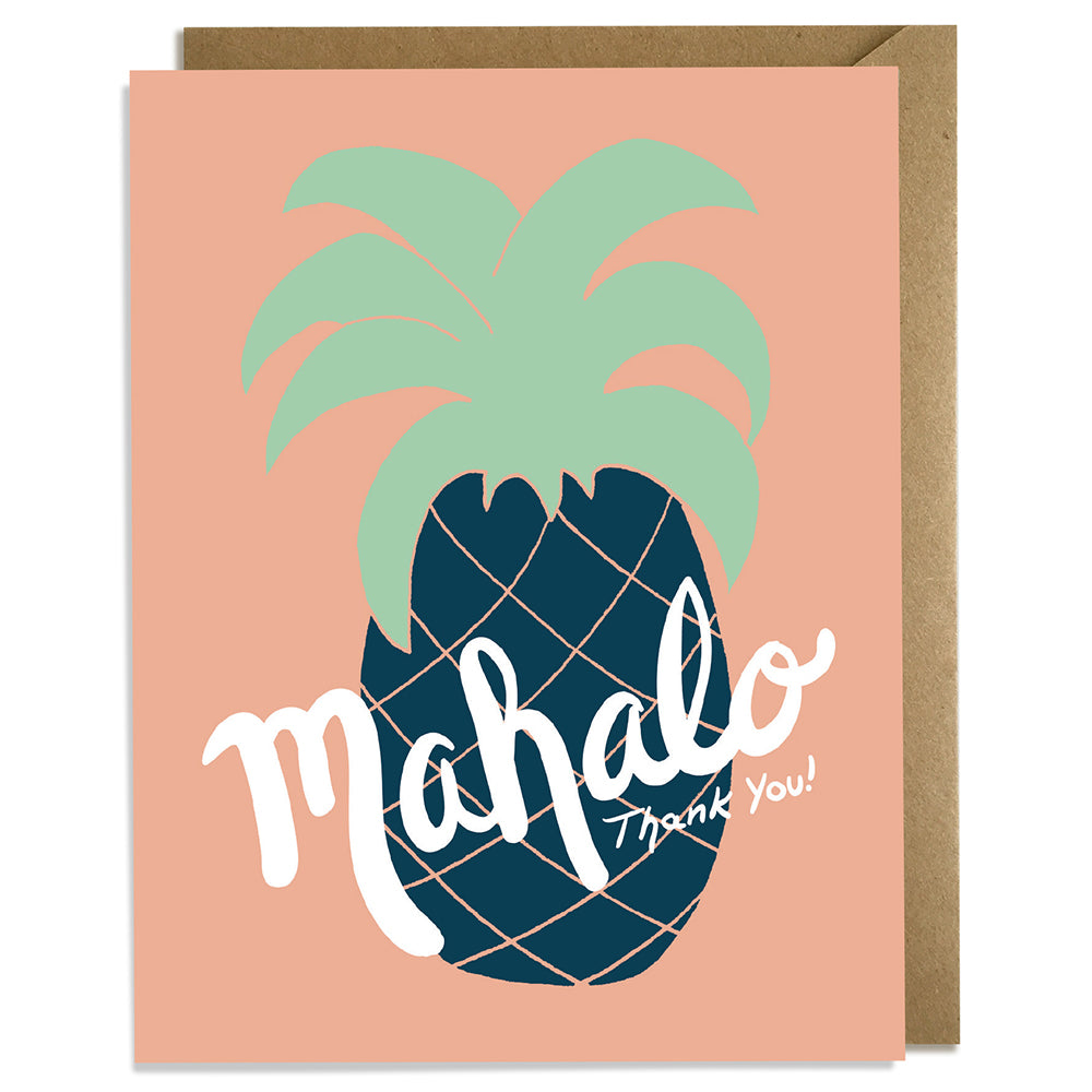 Mahalo Pineapple Pink - Thank You Card