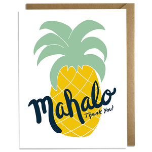 Mahalo Pineapple White - Thank You Card