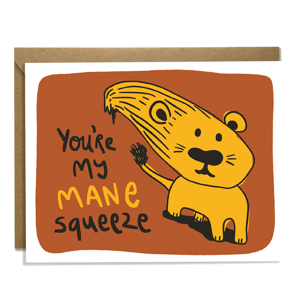 Mane Squeeze Lion Love Card