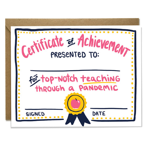 Teacher Achievement Pandemic Card