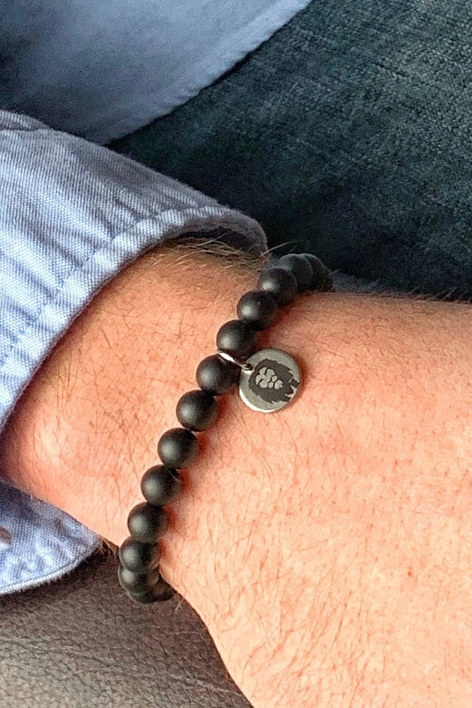 Men's Matte Black Onyx Beaded Bracelet - 8mm