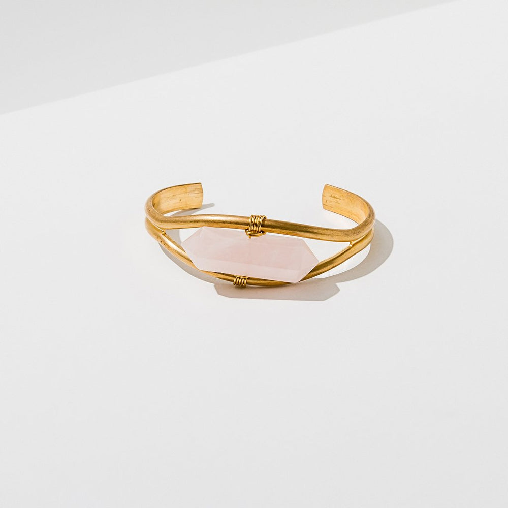 Rose Quartz Brass Cuff Bracelet