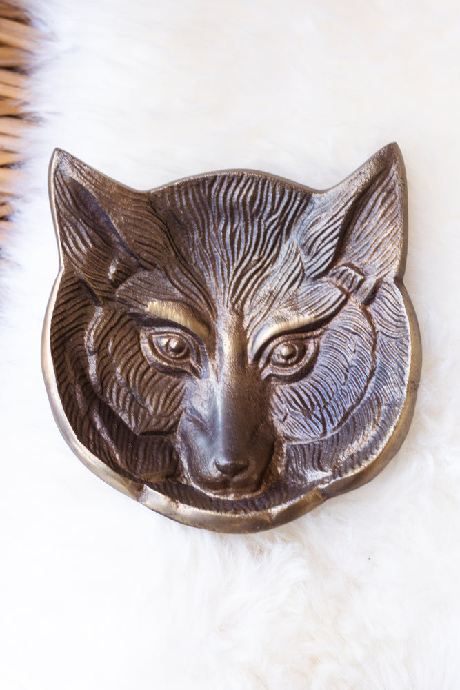 Antique Brass Fox Dish