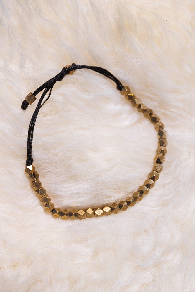 Faceted Brass Beaded Bracelet