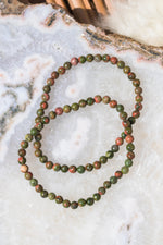 Unakite Beaded Bracelet - 4MM