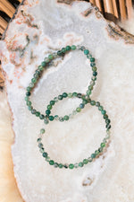 Moss Agate Beaded Bracelet - 4mm