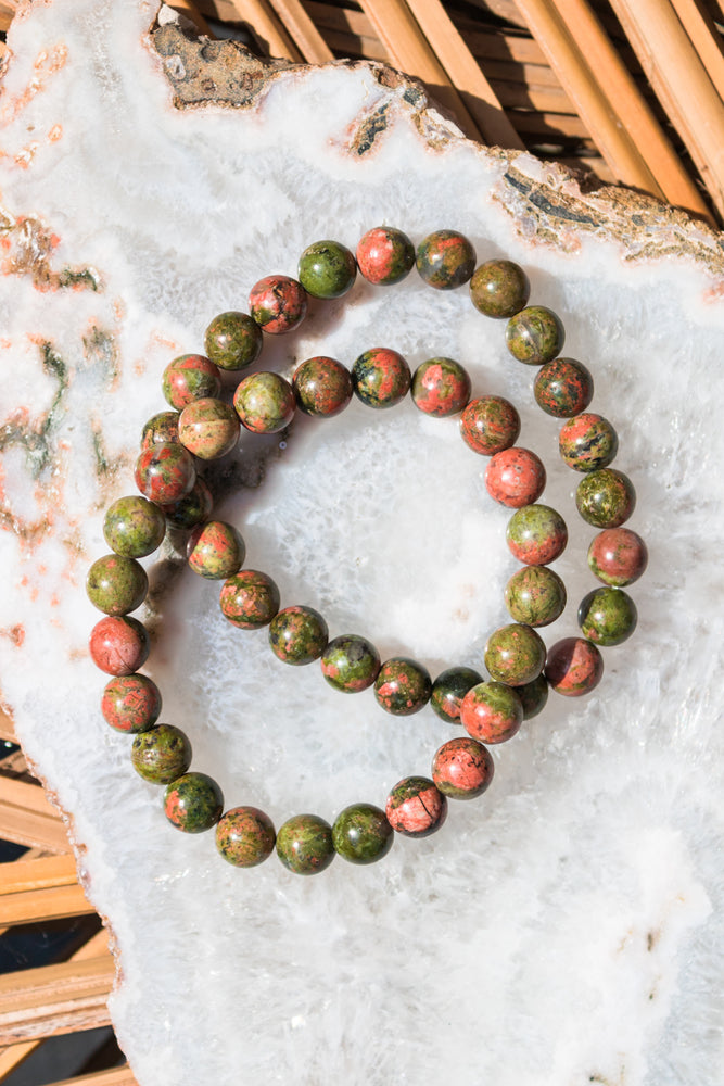 Unakite Beaded Bracelet - 8mm