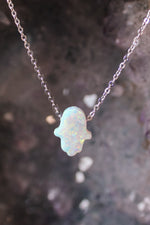Mini Opal Hamsa Necklace