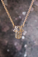 Gold Pave Mini Hamsa Necklace