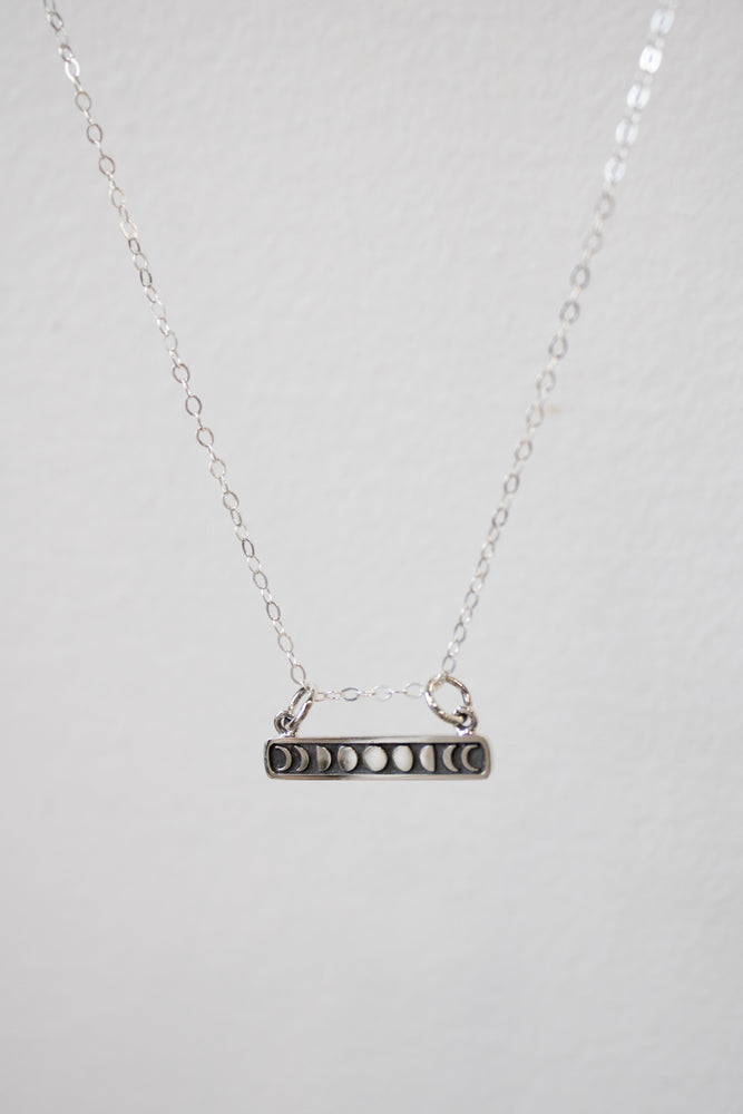 Silver Moon Phase Bar Necklace