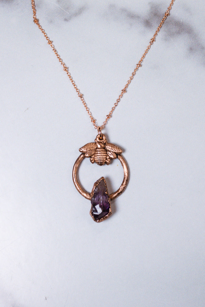 Amethyst Bee Necklace