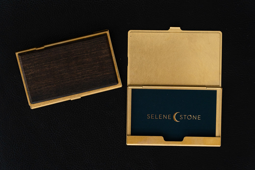 Ebony Brass and Wood Card Case - Selene Stone