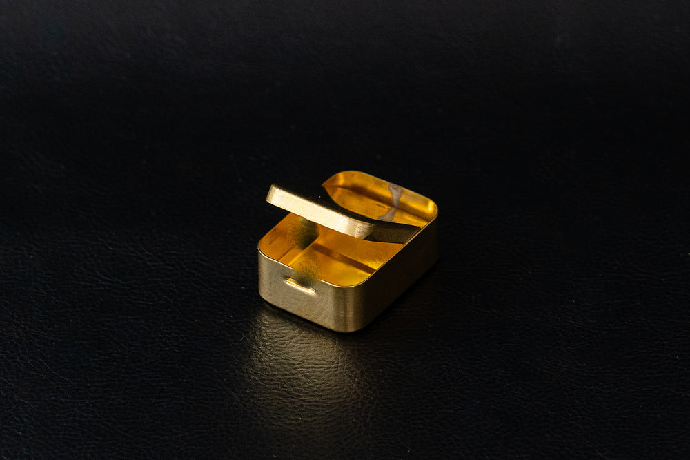 Small Brass Box with Hinge Lid - Selene Stone