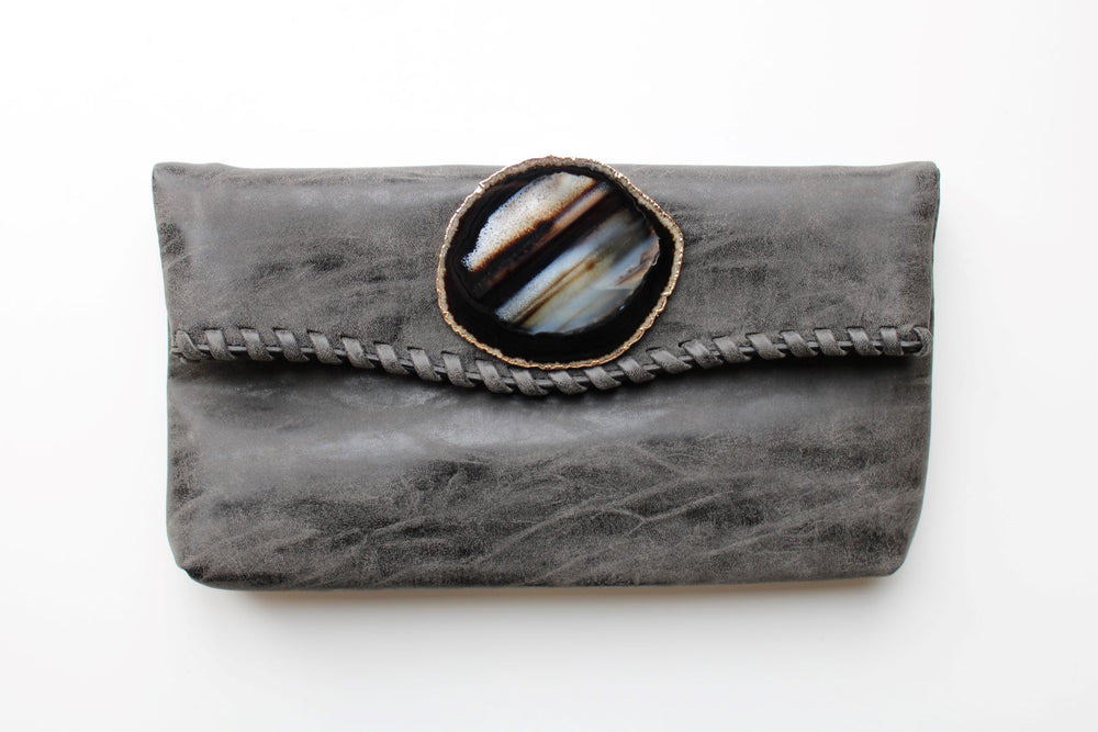 Vegan Leather Agate Clutch - Selene Stone