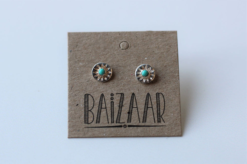 Turquoise Compass Rose Earrings