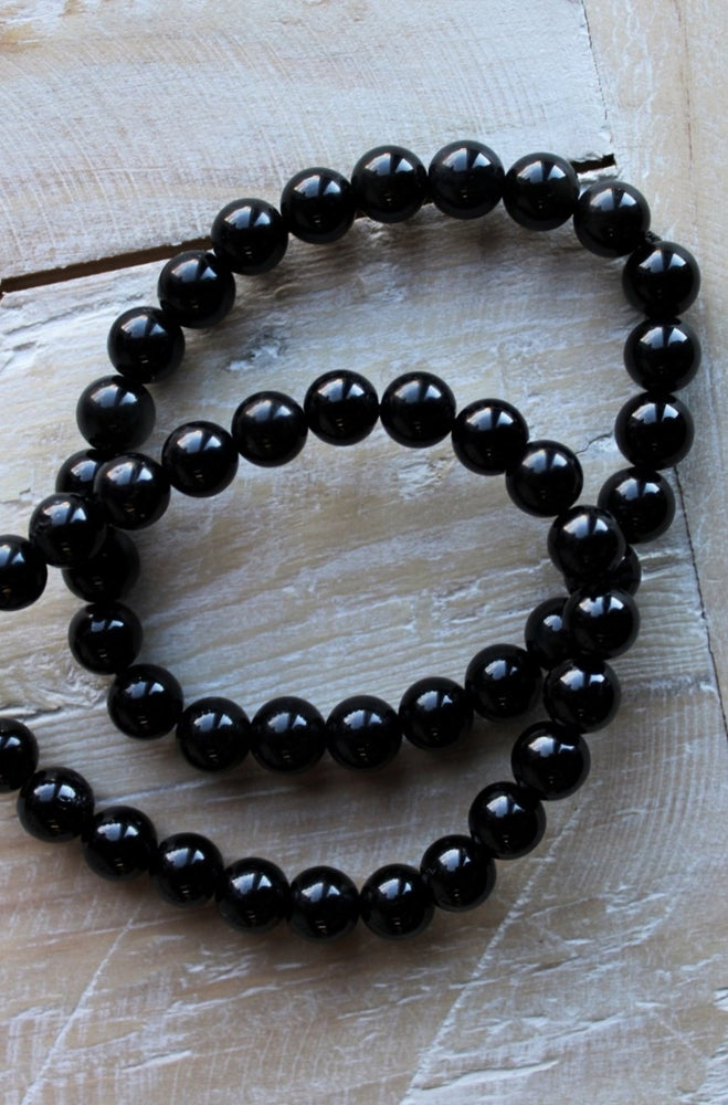 Black Tourmaline Beaded Bracelet - 8MM