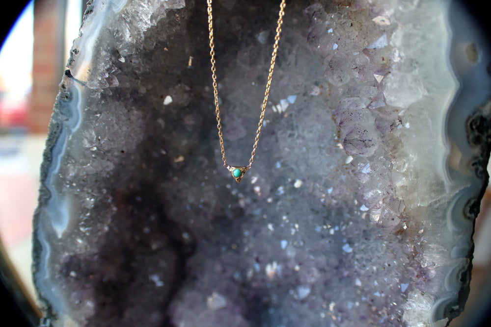Turquoise Triangle Droplet Necklace