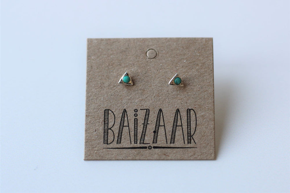 Turquoise Triangle Stud Earrings