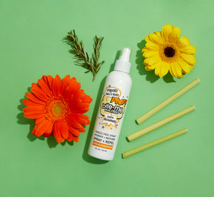 Bite Me Bug Free all natural, chemical free leave-in-conditioner. Repel Lice + Ticks with this delicious spray while conditioning your hair with luxurious natural ingredients: paraben free, phalate free, cruelty free, vegan, GMO free.