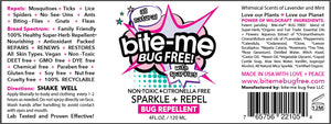 Bite Me Bug Free all natural, chemical free and DEET free original Spray + Repel formula. Repels Mosquitoes, Lice + Ticks. Bug Spray and Insect Repellent. Luxurious all natural ingredients: paraben free, phalate free, cruelty free, vegan, GMO free. SENSITIVE SKIN; BABY; ALCOHOL FREE; GENTLE; TRAVEL SIZE; MICA; SPARKLES