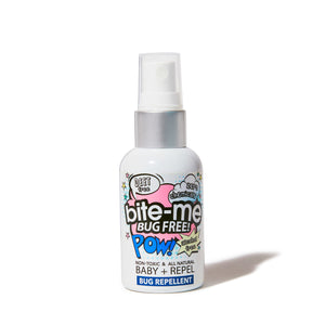 Bite Me Bug Free all natural, chemical free and Deet free Baby formula. Repels Mosquitoes, Lice + Ticks. Bug Spray and Insect Repellent. Luxurious all natural ingredients: paraben free, phalate free, cruelty free, vegan, GMO free. Travel Size gentle, alcohol free