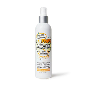 Bite Me Bug Free all natural, chemical free leave-in-conditioner. Repel Lice + Ticks with this delicious spray while conditioning your hair with luxurious natural ingredients: paraben free, phalate free, cruelty free, vegan, GMO free. neukatone, grapefruit oil, tanfle free