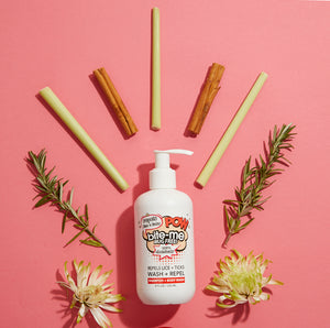 Bite Me Bug Free's Plant powered, antioxidant packed wash + shampoo that nourishes hair and repel lice and ticks.