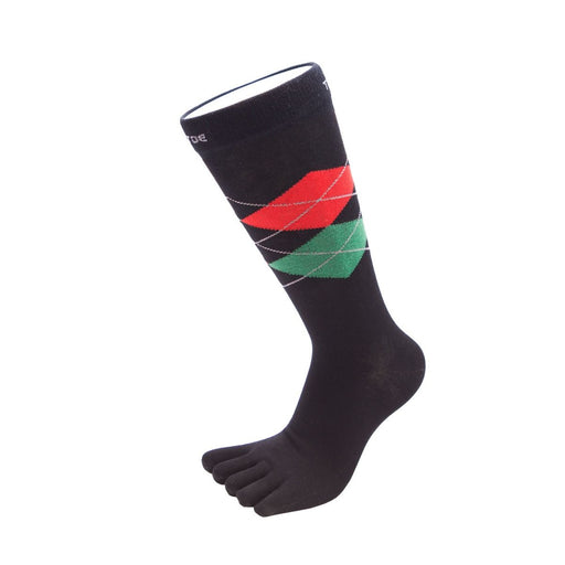 ToeToe Essential Mens Argyle Office Socks - Black Red Green