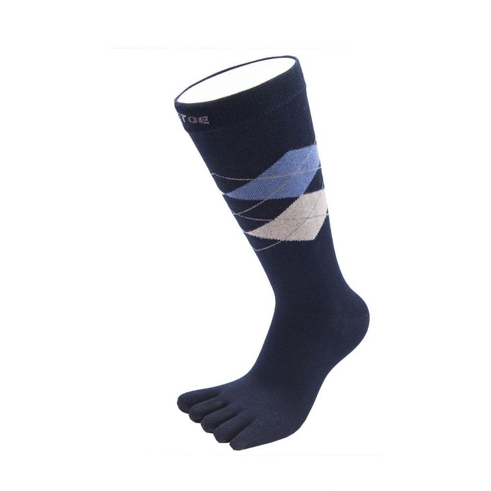 ToeToe Essential Mens Argyle Office Socks - Navy Grey Blue