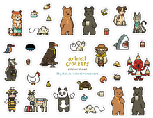 Load image into Gallery viewer, Animal Crackers Stickersheet