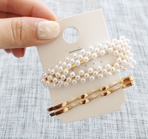 3Pcs/Set Pearl Metal Women Hair Clip Bobby Pin Barrette Hairpin Hair Accessories