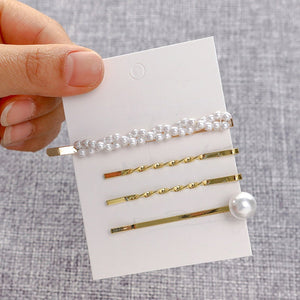 4Pcs/Set Pearl Metal Women Hair Clip Bobby Pin Barrette Hairpin Hair Accessories